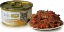 Brit Care Cat Tuna, Carrots, Peas 80гр*48шт